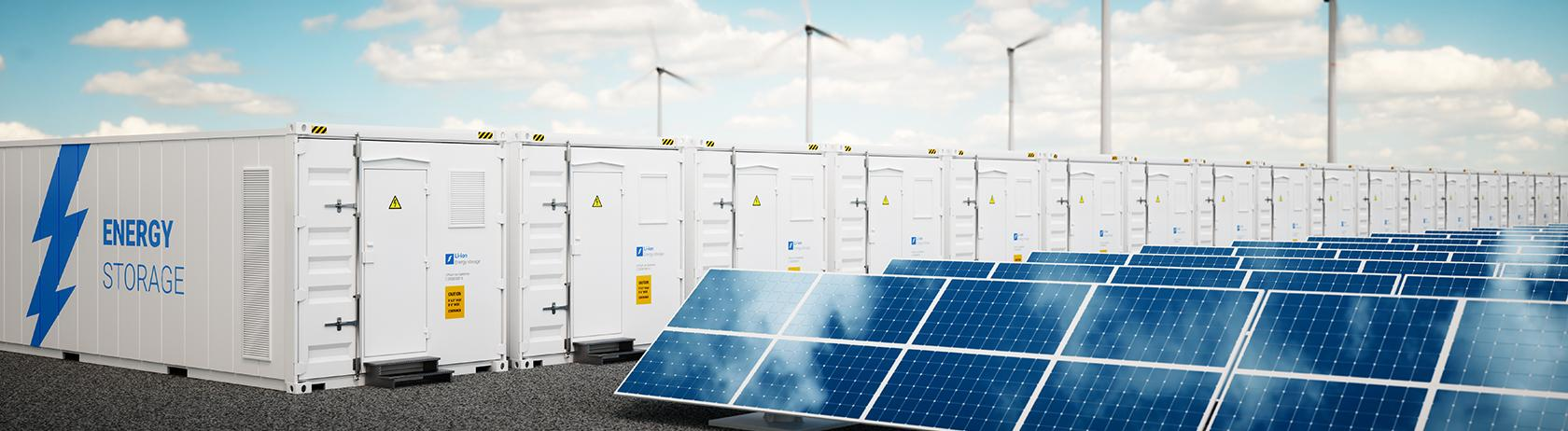 Solar panels and energy storage containes