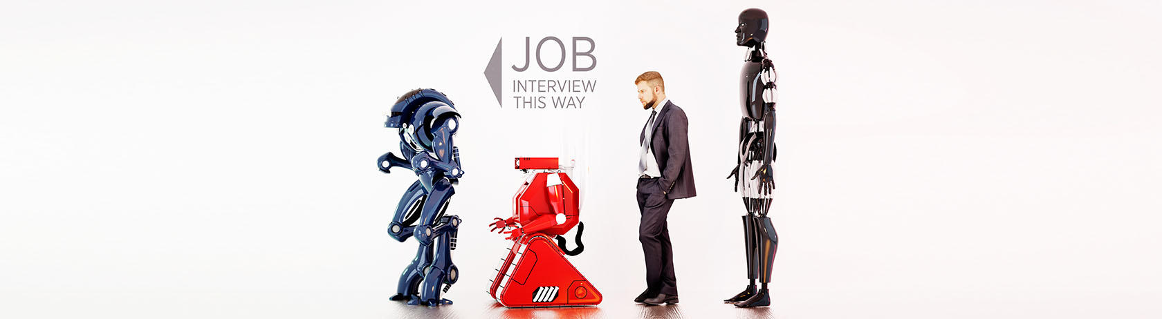 Man waiting in interview queue alongside robots