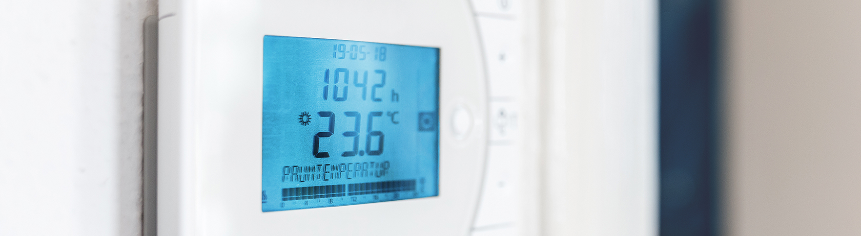 HVAC thermostat and control panel