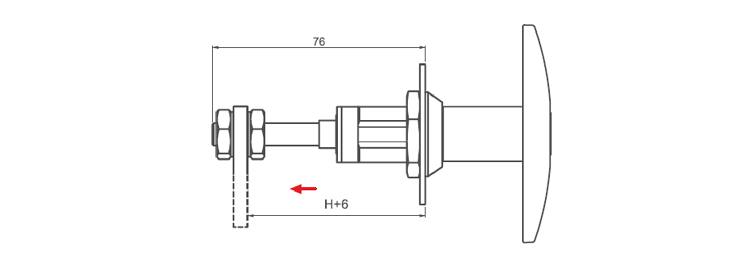 Adjustable T Handle with compression technical drawing