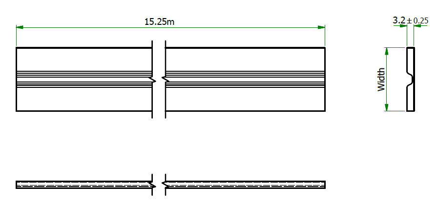 Continuous hinge technical drawing