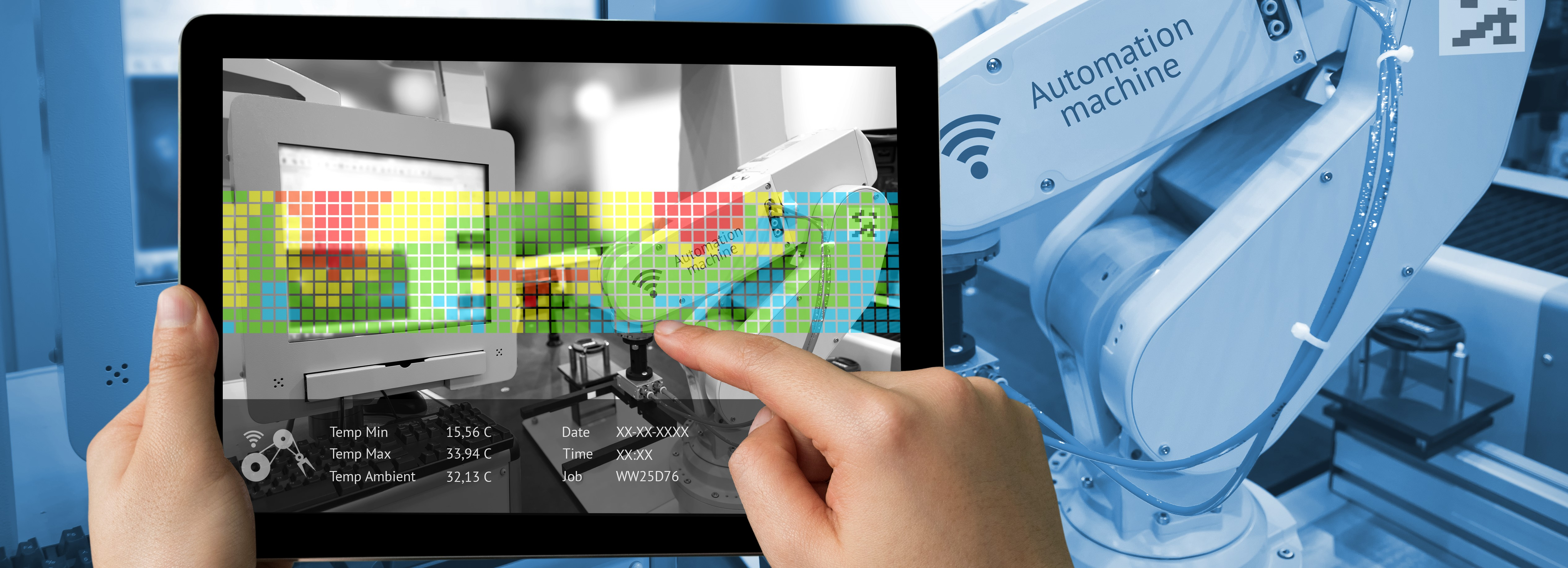 Augmented reality on tablet showing robot in a smart factory