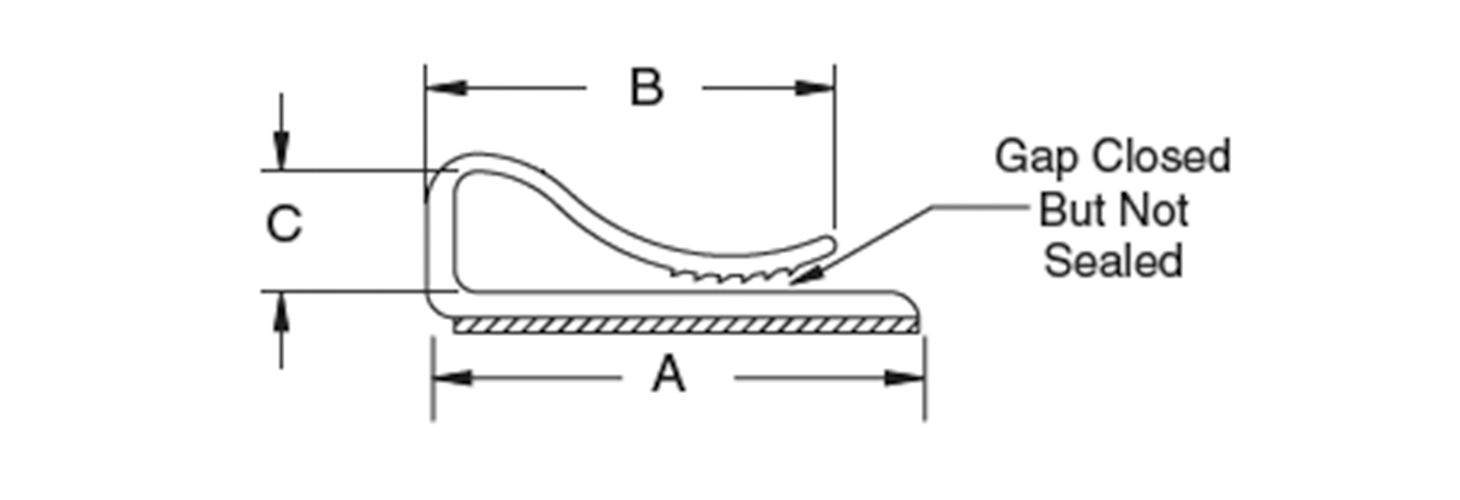Flat cable clamp, adhesive mount, tension
