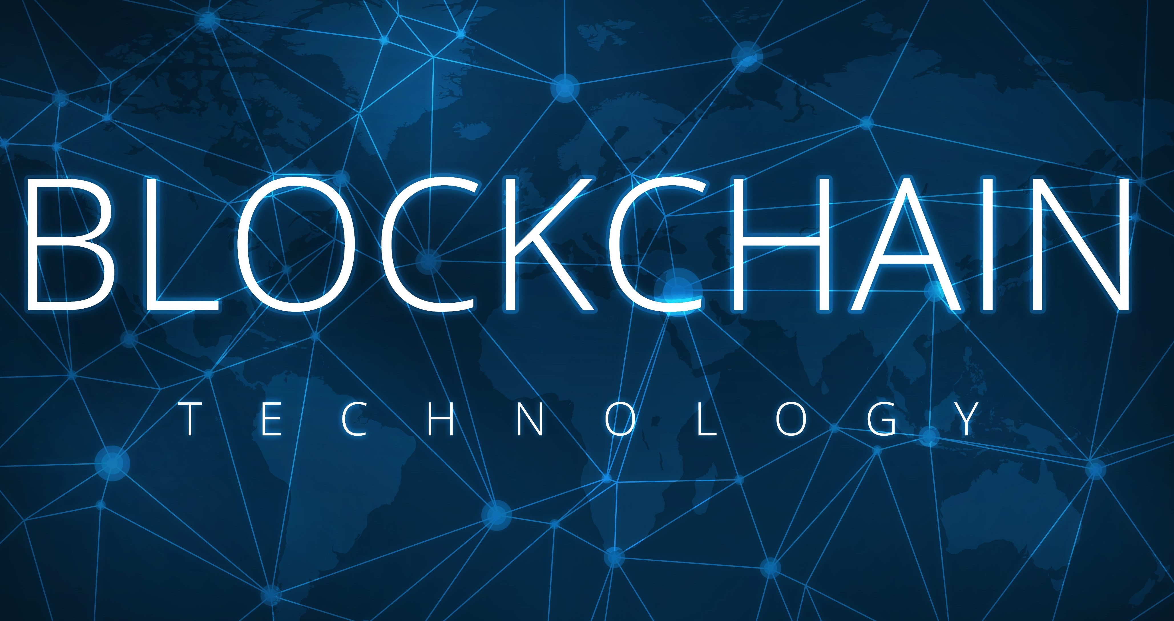 Blockchain technology sign with network points and a global map in background