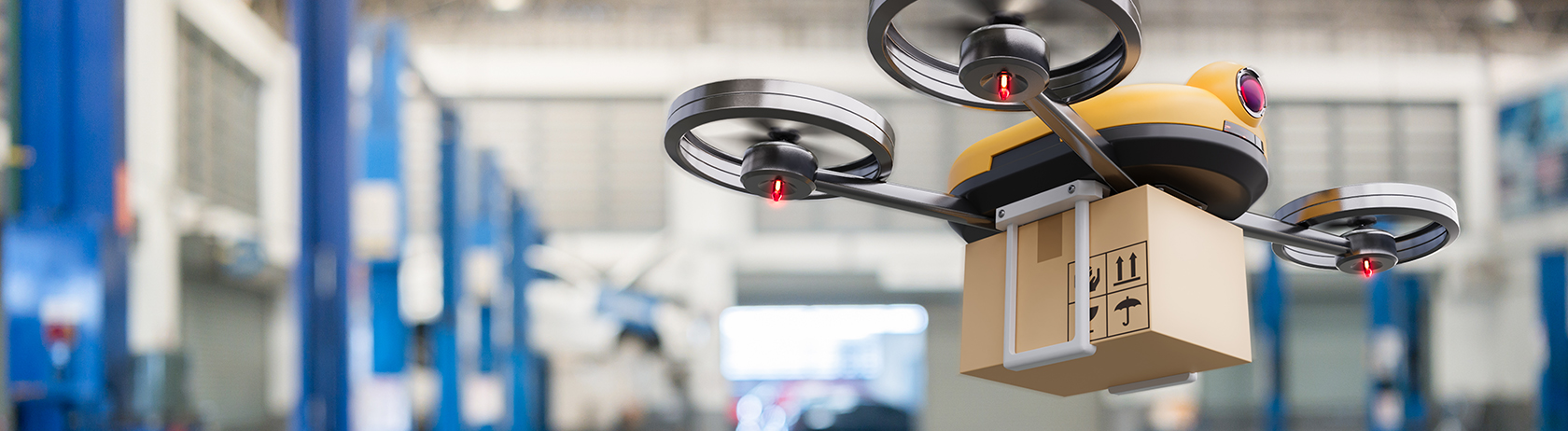 Delivery drone in a smart warehouse