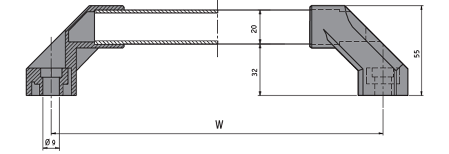 Machine pull handle technical drawing