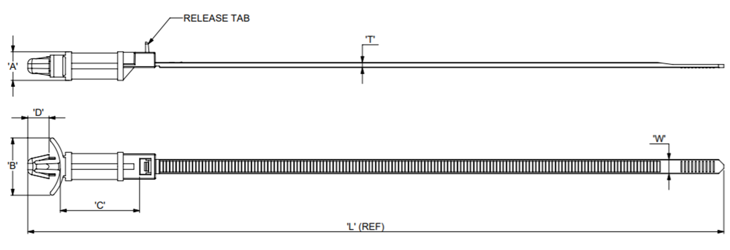 Mounting Cable Tie Push-Fit Releasable