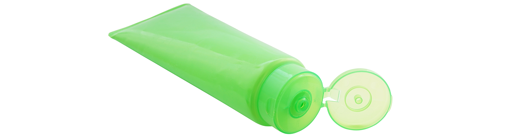 Green plastic tube with open living hinge lid