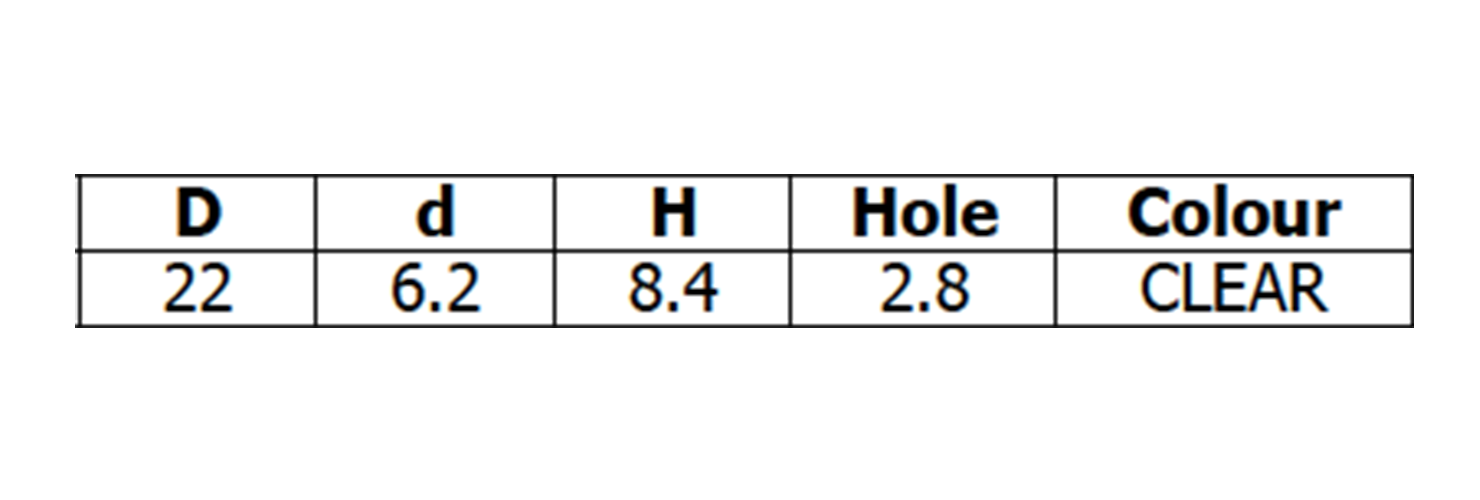 Single-Sided Suction Cups - Hole dimensions