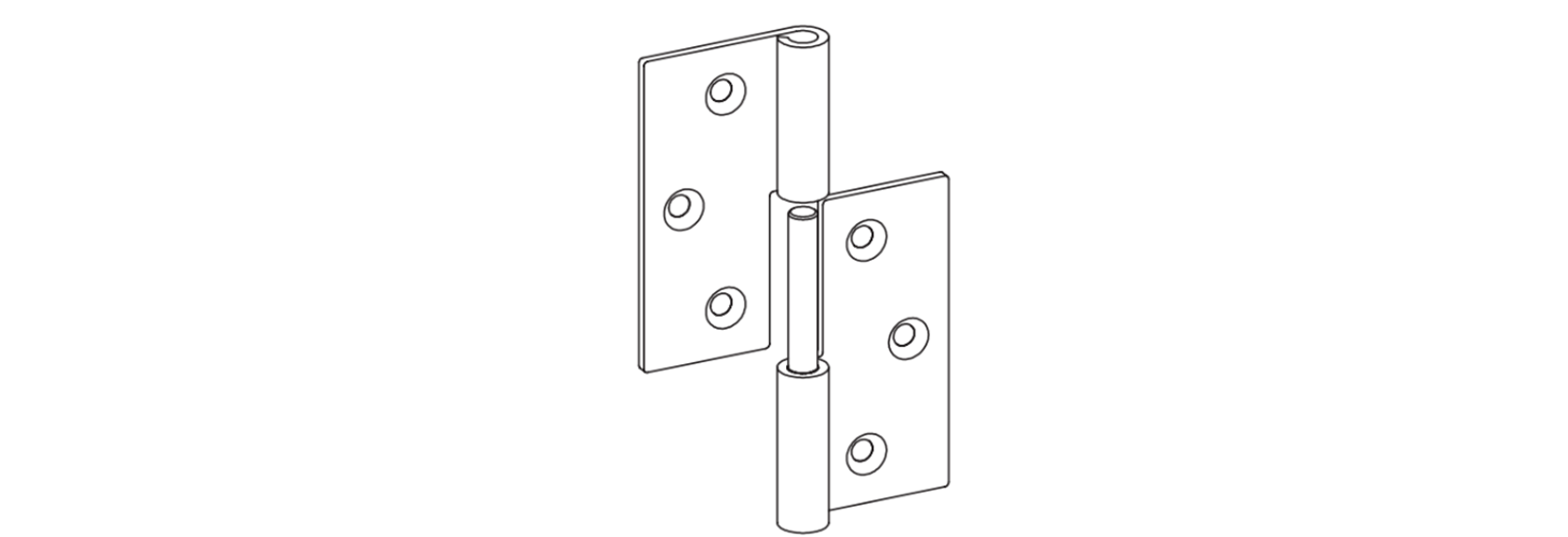 Stainless steel lift off hinges, flag