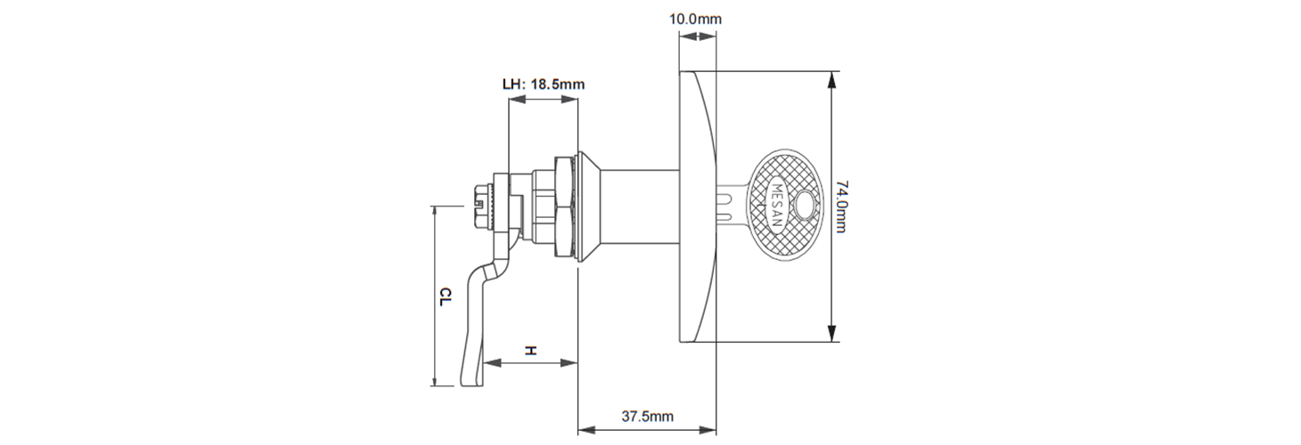 T Handle cam latch lock technical drawing